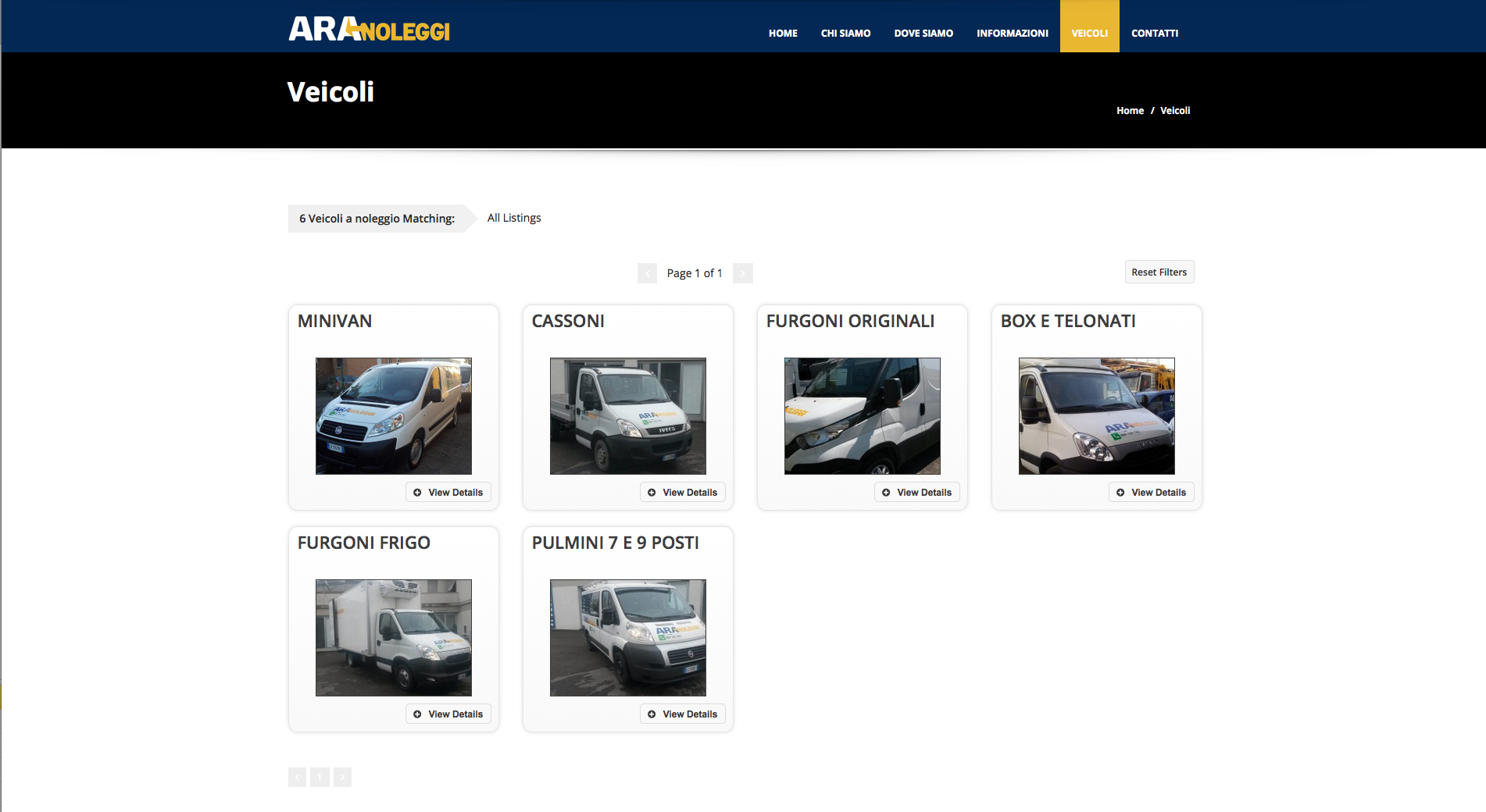 Ara Noleggi - sito web